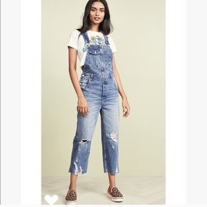 Free people baggy boyfriend overalls jeans size 27